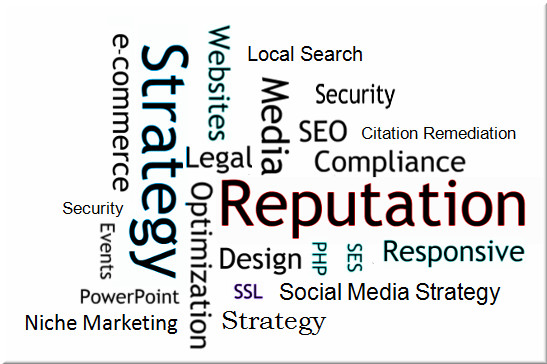 Strategy REPUTATION Search Engine Strategy (SES) Search Engine Optimization (SEO) Legal Compliance Responsive Design Mobile Websites Content creation Citation Remediation Social Media Strategy Press Release Media e-commerce SSL WordPress HTML PHP Local Search Niche Marketing Security Teamwork Project Management Special Events PowerPoint Teamwork ANALYTICS