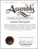 California Assembly acknowledgement of Sumner Davenport
