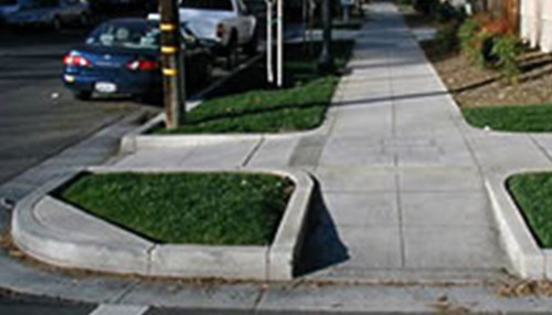 sidewalk area showing curb cut